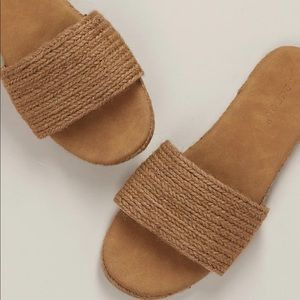 Open Toe Woven Jute Band Flat Slide Sandals